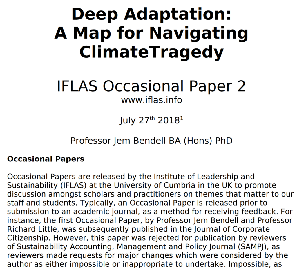 """Cover sheet for the paper, """"Deep Adaptation: A Map for Navigating Climate Tragedy"""" by Professor Jem Bendell, a sustainability academic at the University of Cumbria, dated 27 July 2018. Graphic: Jem Bendell"""