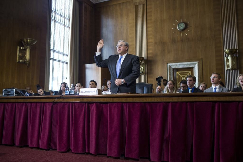 Interior Secretary David Bernhardt at his confirmation hearing on 28 March 2019 before the Senate Energy and Natural Resources Committee. Photo: Zach Gibson / Getty Images