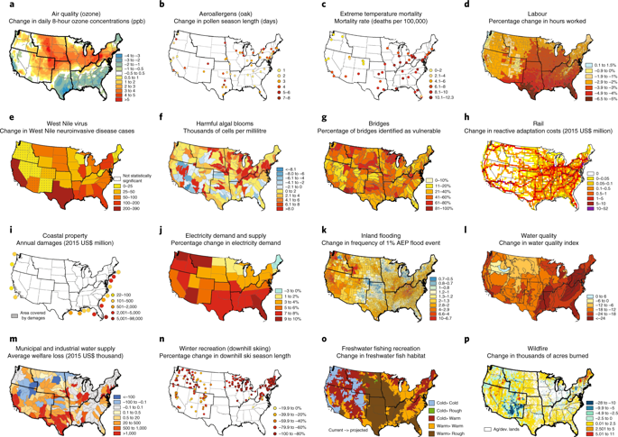 Geographic distribution of select projected climate impacts in the United States. Graphic: Martinich and Crimmins, 2019 / Nature Climate Change