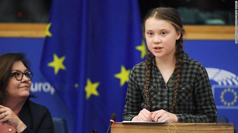 Swedish climate activist Greta Thunberg (R) speaks during a debate with the EU Environment, Public Health and Food Safety Committee during a session at the European Parliament on   16 April 2019 in Strasbourg, eastern France. Sweden's teenage activist Greta Thunberg on April 16 urged Europeans to vote in next month's elections on behalf of young people like her who cannot yet cast ballots but demand decisive action against climate change. During a visit to the European Parliament in the French city of Strasbourg, Thunberg, 16, told a press conference that time is running out to stop the ravages of global warming. Photo: Frederick Florin / AFP / Getty Images