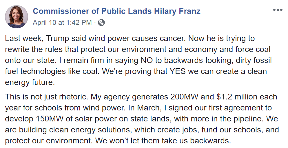 Facebook post by Washington Commissioner of Public Lands, Hilary Franz, on 10 April 2019, announcing that Washington State will fight Trump's executive orders that attempt to bypass the Clean Water Act to fast-track fossil-fuel development projects. Photo: Hilary Franz