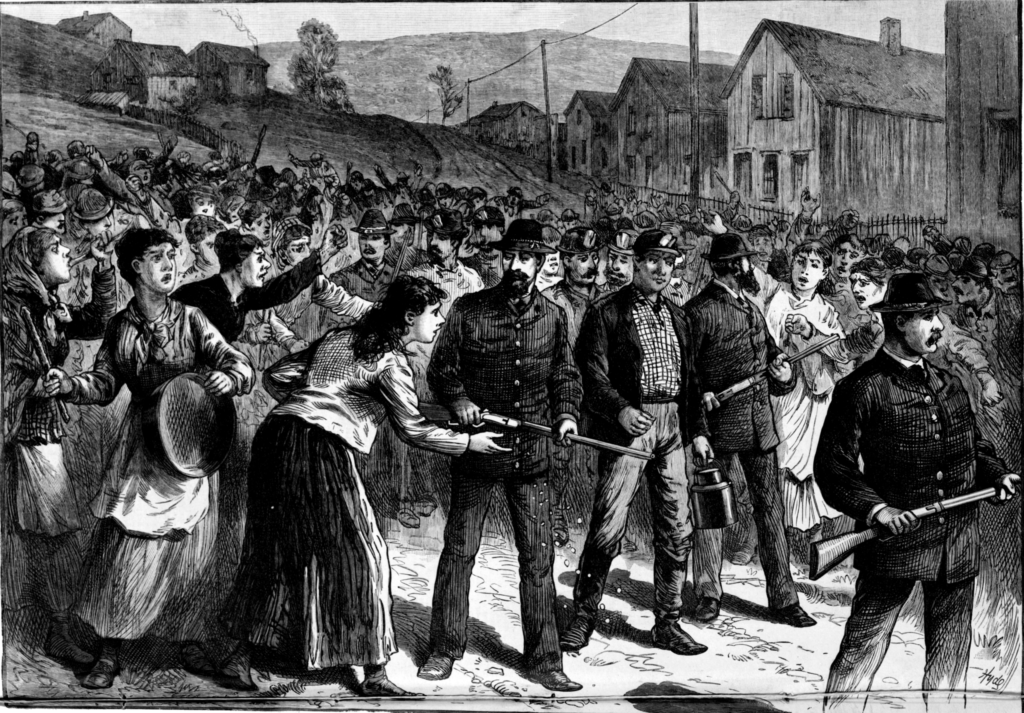 An 1884 newspaper sketch of Pinkertons escorting workmen during a mining strike. Graphic: Alamy