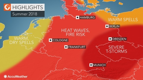 Heatwave over Germany in Summer 2018. Graphic: Accuweather