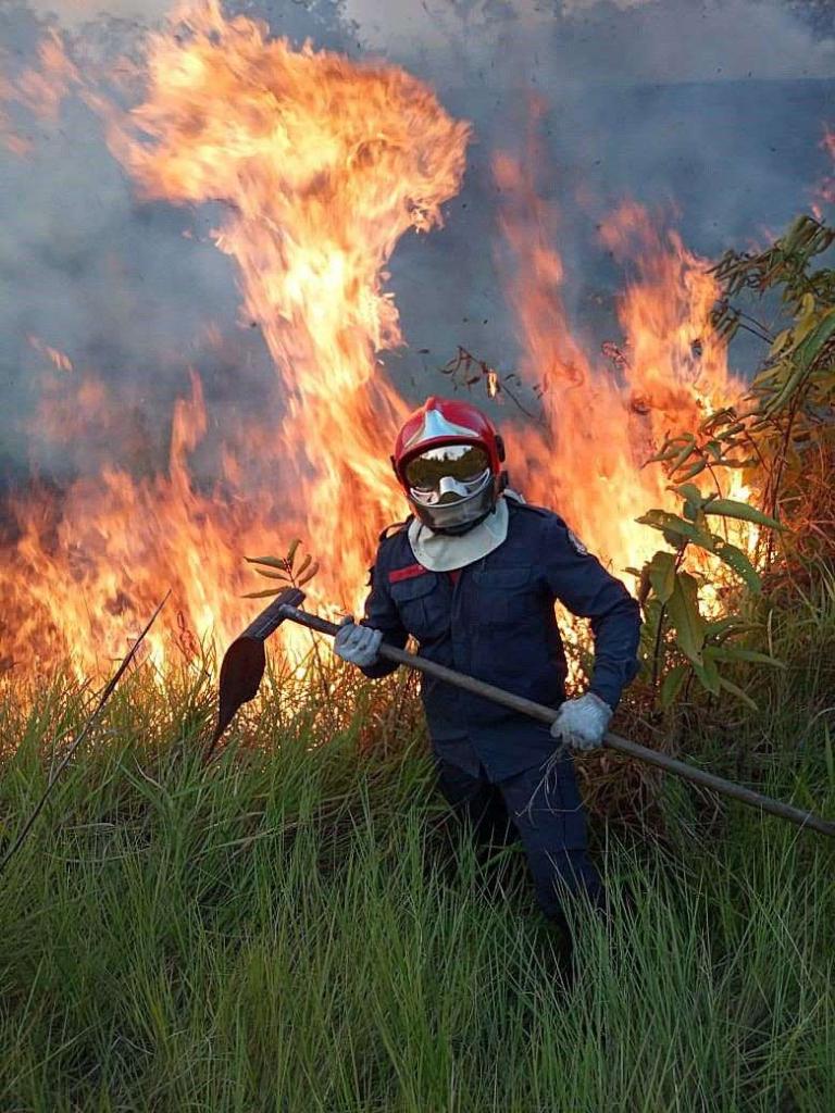 A Rio Branco fireman fights a wildfire in Rio Branco, Amazonian State of Acre, Brazil, on 17 August 2019. Photo: Rio Branco Firemen handout / EPA-EFE / Shutterstock