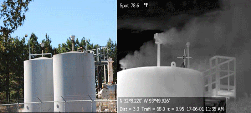Gas storage tanks receiving natural gas from feeder pipelines before compression for transport in high-pressure pipelines at the Haynseville shale formation, Texas. The photo on left was taken with a normal camera. The photo on the right was taken with a forward-looking infrared (FLIR) camera tuned to the infrared spectrum of methane, allowing visualization of methane, which is invisible in the normal camera view and to the naked eye. Photo: Sharon Wilson / Howarth, 2019 / Biogeosciences
