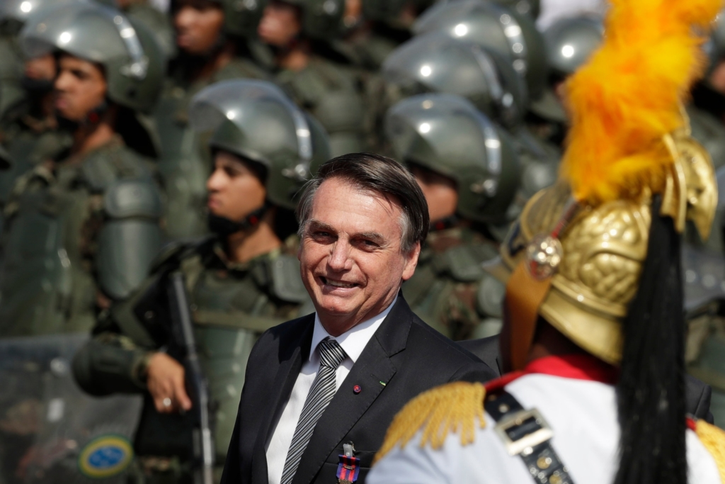 President Jair Bolsonaro of Brazil during a ceremony at Army headquarters on 23 August 2019 in Brasilia. Photo: Eraldo Peres / Associated Press