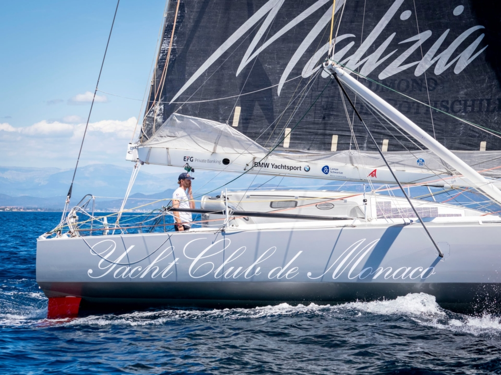 """Racing yacht the """"Malizia"""" in Saint-Tropez. Climate activist Greta Thunberg is to sail across the Atlantic in the """"Malizia II"""" in August 2019 to attend UN climate summits in the U.S. and Chile. Photo: Arnold Jerocki / Getty Images"""