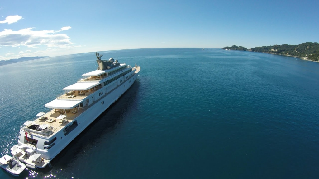 """Super yacht the """"Rising Sun"""" at the harbor of Santa Margherita Ligure, 24 June 2016. The """"Rising Sun"""" is owned by billionaire and film producer David Geffen, filmed by a drone. The yacht is the 10th largest in the world. Photo: Fly View"""