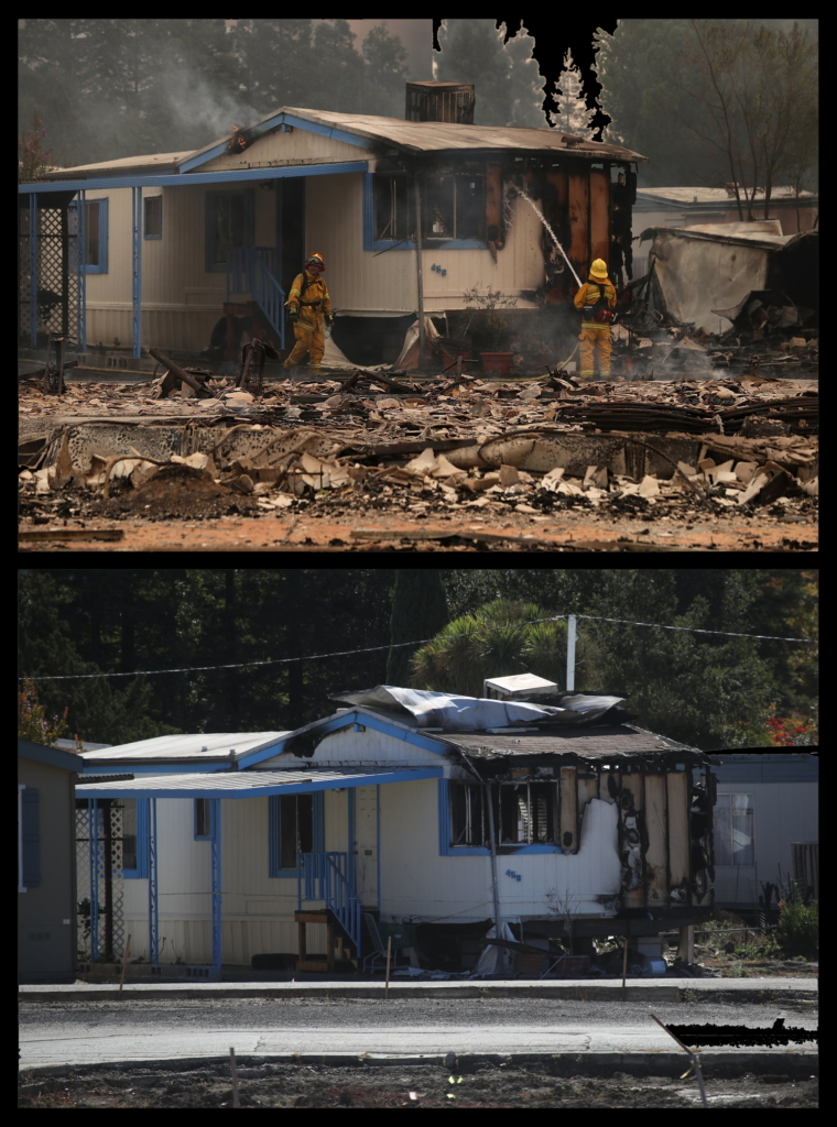 "Top: firefighters spray water on fire-damaged mobile home at the Journey's End Mobile Home Park in Santa Rosa, California, 9 October 2017. Bottom: the same mobile home, a year later. ""We really didn't have two years,"" said Lisa Frazee, who lost her Santa Rosa home in the Tubbs fire. ""We had to get our infrastructure back – the bridges, the roads – before we could even start personally thinking of rebuilding. The cities and counties were inundated with that first. Then we had to get builders and there aren't enough builders. There aren't enough laborers."" Photo: Justin Sullivan / Getty Images"