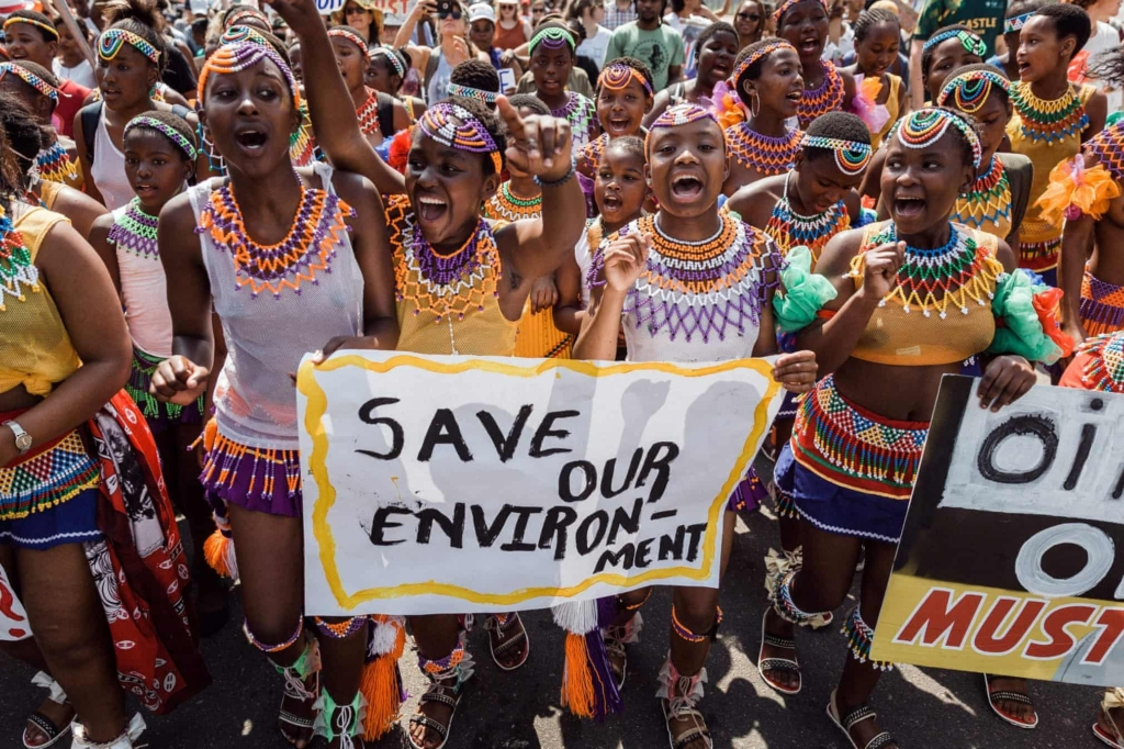 Girls in Durban South Africa march in the Global Climate Strike, 20 September 2019. Photo: Rajesh Jantilal / AFP / Getty Images