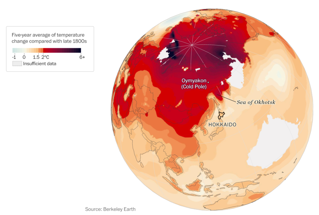 Map showing average surface sea temperature in the Sea of Okhotsk, compared with the late 1800s. Data: Berkeley Earth. Graphic: John Muyskens / The Washington Post