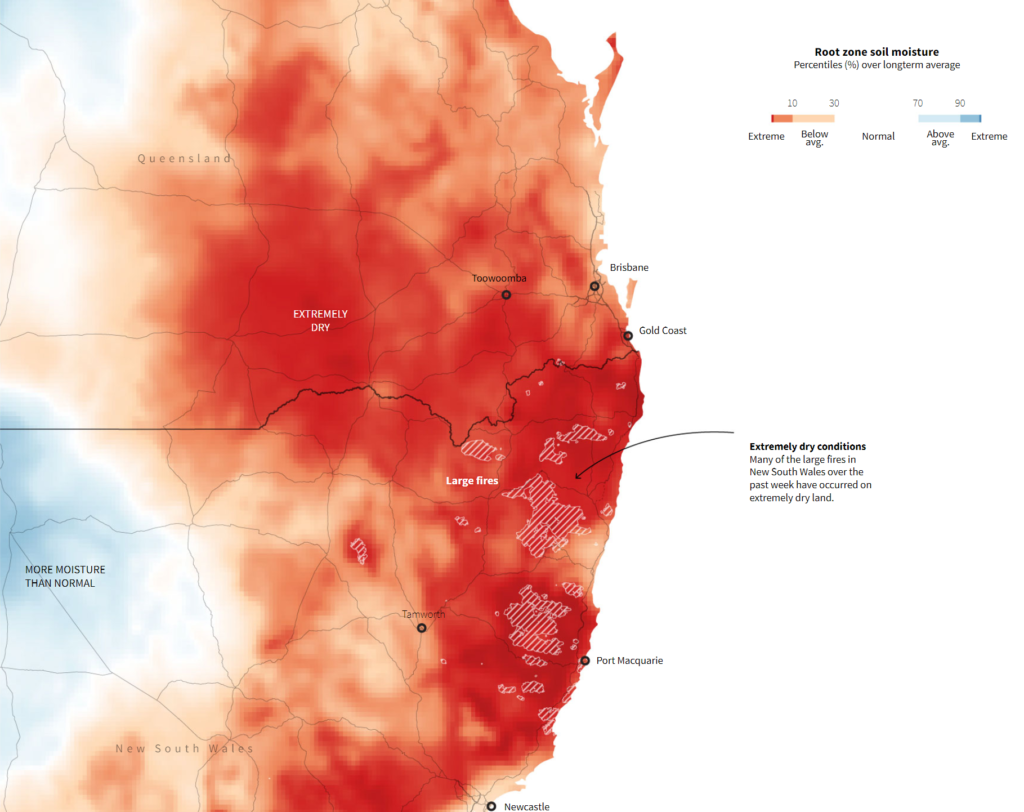 Map showing root zone soil moisture in New South Wales, Australia compared with average, November 2019. Graphic: Reuters