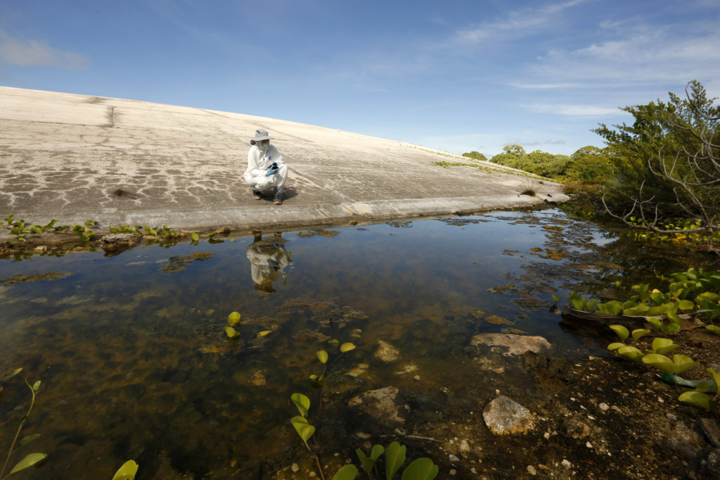 "Los Angeles Times reporter Susanne Rust looks at water pools around the Runit Dome, in Enewetak Atoll, the Marshall Islands, 14 August 2018. More than 40 years ago, U.S. authorities buried plutonium and other waste from nuclear testing in an unlined bomb crater on Runit Island and encapsulated it with concrete. The so-called ""Tomb"" now bobs with the tide, sucking in and flushing out radioactive water into nearby coral reefs, contaminating marine life. Photo: Carolyn Cole / Los Angeles Times"