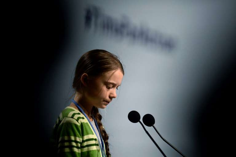 Climate activist Greta Thunberg speaks at the United Nations Climate Change Conference COP25 in Madrid, Spain on 11 December 2019. Photo: Cristina Quicler