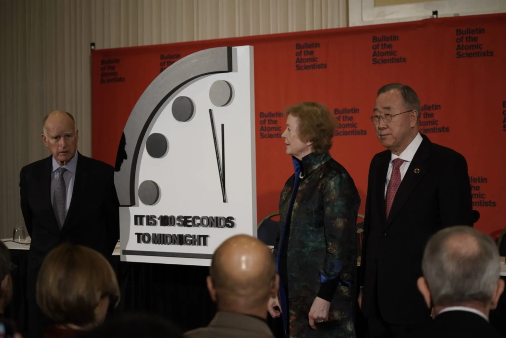 Scientists with the Bulletin of the Atomic Scientists move the hands of the Doomsday Clock to within 100 seconds of midnight, closer to midnight than at any point since its creation in 1947, 23 January 2020. Photo: Bulletin of the Atomic Scientists