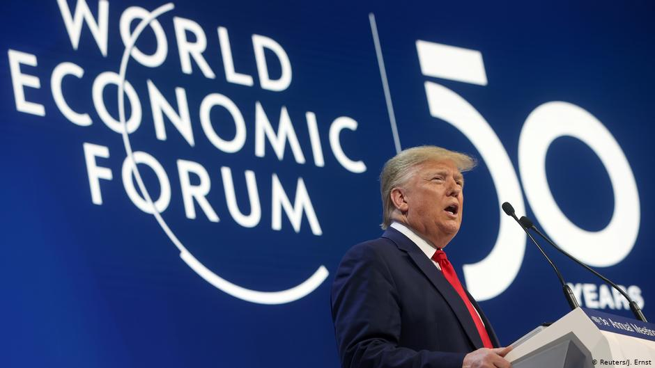 "Trump speaking at the World Economic Forum in Davos, Switzerland, 21 January 2020. He called climate activists ""radical socialists"", ""prophets of doom"", and ""the heirs of yesterday's foolish fortune tellers. Photo: Reuters"