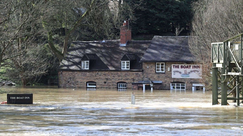 The Boat Inn in Jackfield near Ironbridge, Shropshire, England is flooded on 26 February 2020. Photo: PA