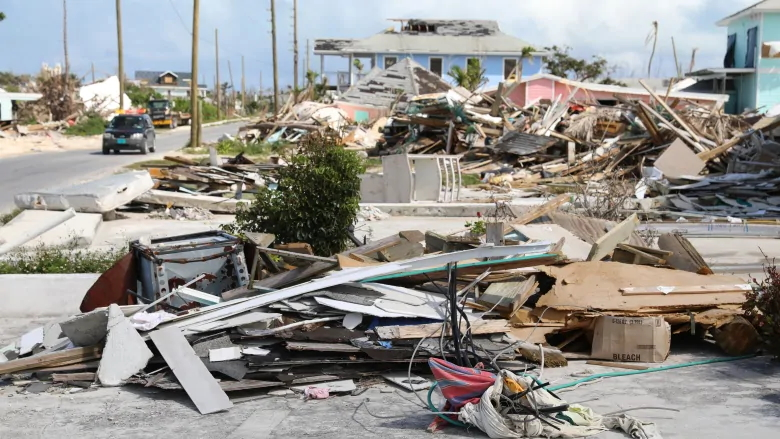 Great Abaco's recovery from the destruction of Hurricane Dorian has been slow, and while streets have been cleared of debris, badly damaged buildings and piles of rubble can still be seen six months after the storm in February 2020. Photo: David Common / CBC