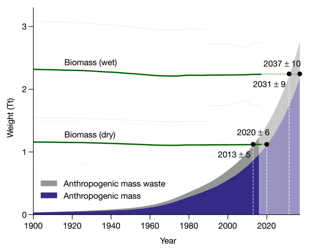 Biomass (dry and wet), anthropogenic mass and anthropogenic mass waste estimates since the beginning of the twentieth century. Green lines show the total weight of biomass (± 1 s.d.). Anthropogenic mass weight is plotted as an area chart. The wet-weight estimate is based on the results presented in Fig.1 and the respective water content of major components (seeMethods). The year 2013±5 marks the time at which the dry biomass is exceeded by the anthropogenic mass, including waste. The years 2037±10 and 2031±9 mark the times at which the wet biomass is exceeded by the anthropogenic mass and the total produced anthropogenic mass, respectively. The uncertainties of the years of intersection were derived using a Monte Carlo simulation, with 10,000 repeats (seeMethods). Weights are extrapolated for the years 2015–2037 (lighter area). Graphic: Elhacham, et al., 2020 / Nature