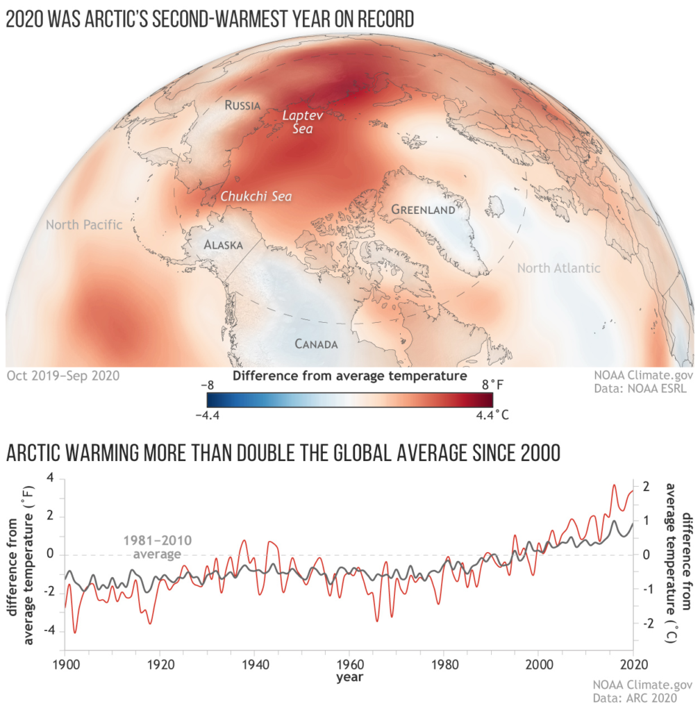 (top) Map showing near-surface air temperatures across the Arctic from October 2019–September 2020 compared to the 1981-2010 average. Most of the Arctic was warmer than average (red), with only a few places colder than average (blue). Map by NOAA Climate.gov, based on NCEP/NCAR Reanalysis data from the Physical Sciences Lab at NOAA ESRL. (bottom) Annual temperatures over land in the Arctic (red) versus the globe (dark gray) compared to the 1981-2010 average from 1900–2020. Graph by NOAA Climate.gov, adapted from the 2020 Arctic Report Card. Graphic: NOAA